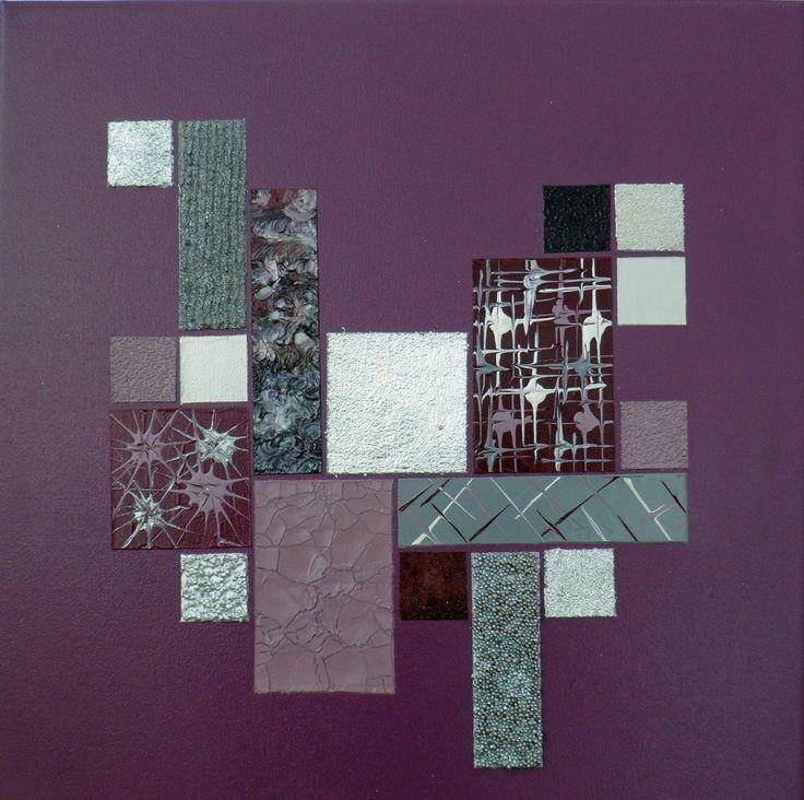 Tableau mural abstrait violet prune argent Garajo