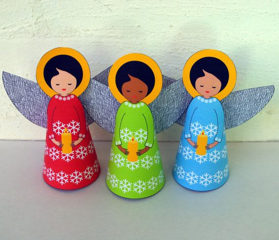 Colourful Christmas Angel Decoration  Printable by paper4download