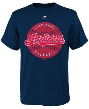 Majestic Boys' Cleveland Indians Electric Ball T-Shirt - Blue L