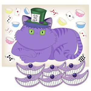 Mad Hatters Tea Party Alice in Wonderland Game Stick smile onthe Cat Party Props