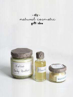 DIY Geschenkidee Naturkosmetik selbstgemacht | Do it yourself Geschenk | Kosmetik aus natürlichen Inhaltsstoffen | natural cosmetic gift idea | Tutorial | Anleitung | Idee | selbstgemacht | Basteln | Kakao Body Butter | Lippenpflege | Haaröl |