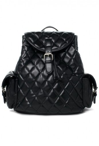 #Chicwish Black Quilt Backpack Bag With Punchout Detail