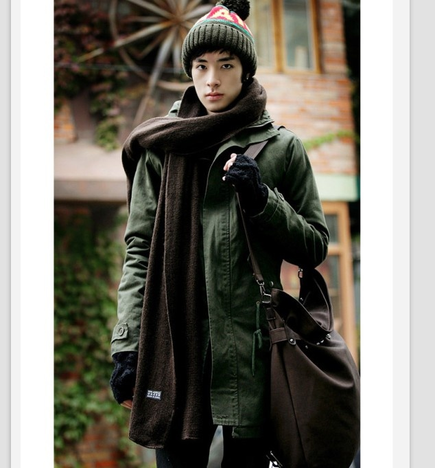 Korean Style Pure Color Hooded Coat Army Green i3366984