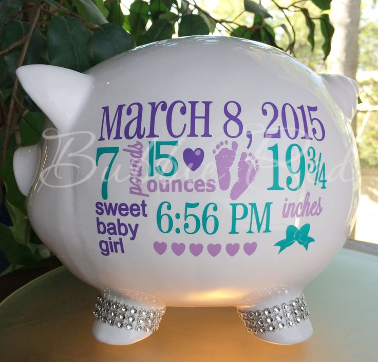 Personalized Piggy Bank, Baby Birth Stats Gift, Baby Girl Piggy Bank, Baby Girl Gift, Piggy Bank,  New Baby Gift, Baby Bank by BubbieRed on Etsy