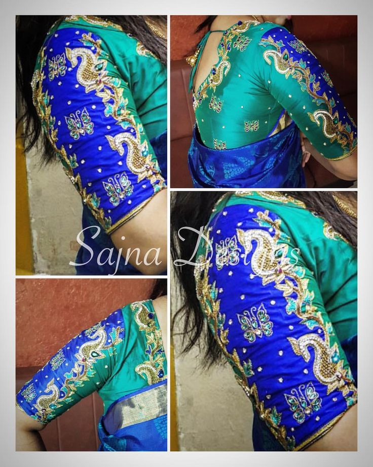 Beautiful contrast designer blue blouse with elegant hand embroidery butterfly design thread work.