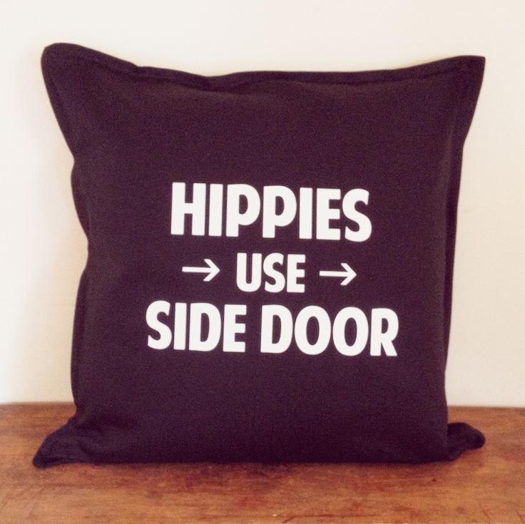 for the wanderer in all of us ... the slogan ' hippies use side door' in white text ... designed by us and then printed by us in our home studio on solid black cotton cushion covers with a zip ... these measure 50 x 50 cm ( 20 x 20 inches) .. you are purchasing the cover only..  inspired by vintage, rock n roll, adventurers and wanderers ... we designed our tees and homewares for those of us who yearn to learn, travel and adventure ....  make every day an adventure.. take the long way ...