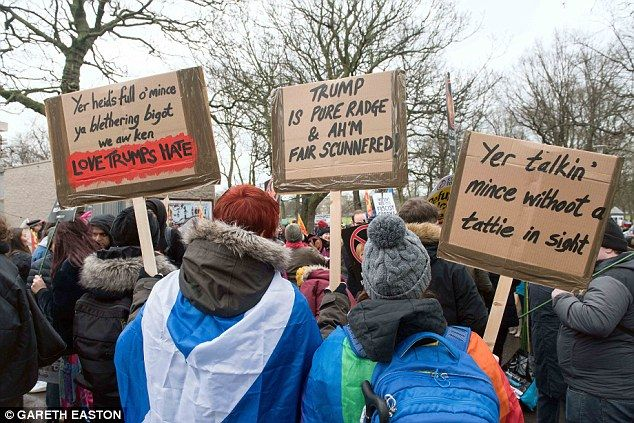 'Yer heid's full o'mince ya blethering bigot' proclaimed one of the signs at the rally in ...