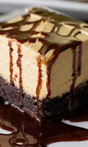 Peanut Butter Brownie Dream-- brownie mix bottom layer topped with simple 4-ingredient top layer and drizzled with chocolate sauce.