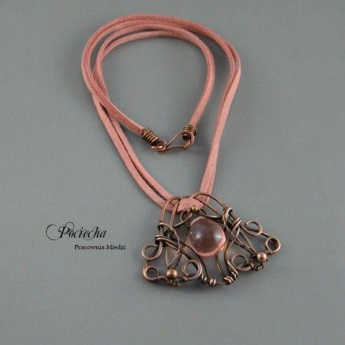 Vintage pink naszyjnik - Naszyjniki - Biżuteria srebrna