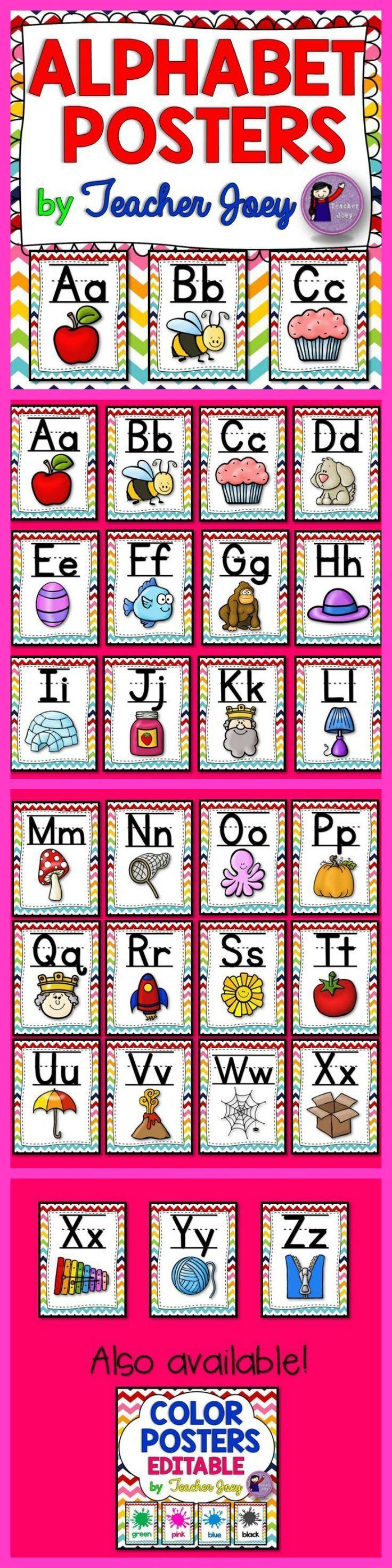 Alphabet Posters Rainbow Chevron background #teacherspayteachers #tpt