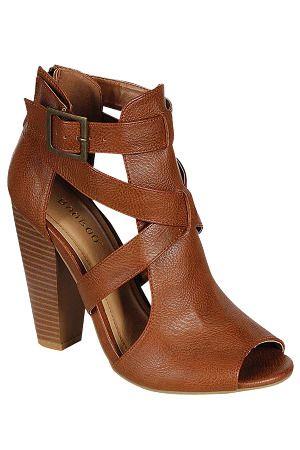 Bamboo Mash-01 Chunky Heel Sandals in Chestnut