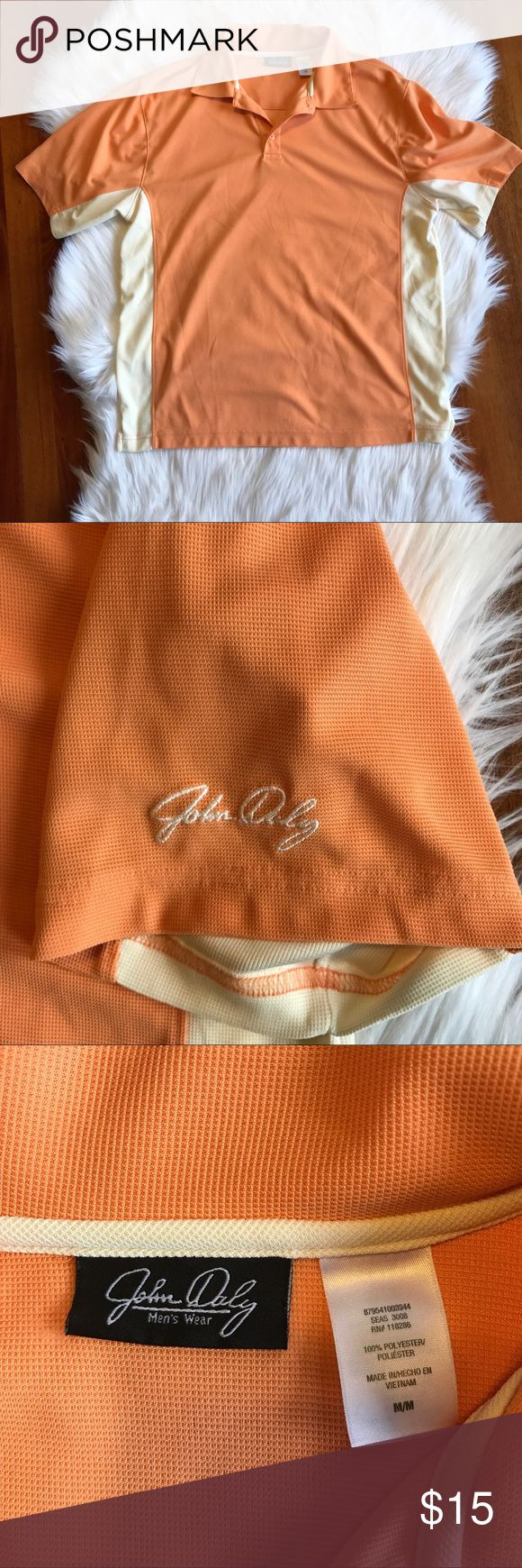 Men's Orange John Daly Golf Polo Excellent pre worn condition. Perfect for any golf occasion. All sales final.   🌟No Returns If Item Doesn't Fit - Please Ask For Measurements Instead (Per Posh Rules)  🌟 No Trades John Daly Shirts Polos