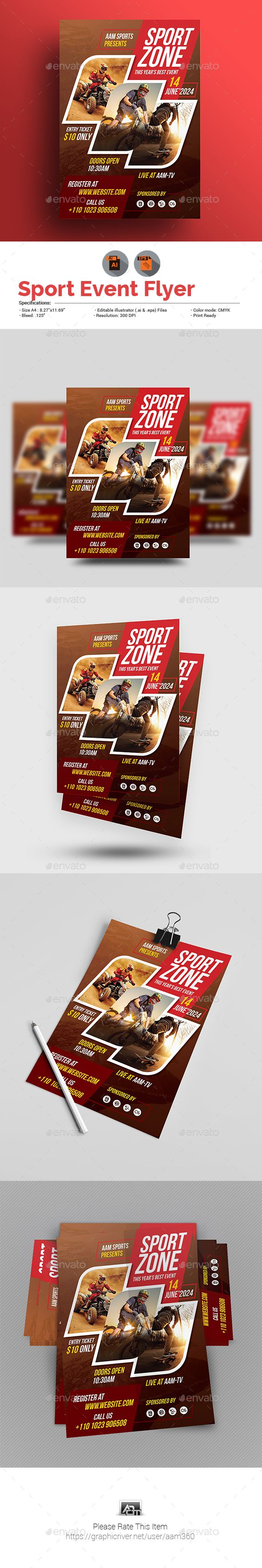 "Sport Event Flyer Template by aam360 Similar Templates:INFORMATIONS FOR THIS FLYER TEMPLATE:FEATURES:Size: 8.27""x11.69""Bleed: .25""Fully editable Illustrator AI & EPS f"