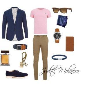 Khaki chino pink and blue