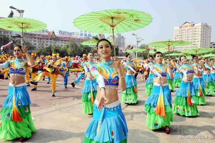 People perform during a cultural demonstration to celebrate the New Year of Dai ethnic group in Jinghong City, Dai Autonomous Prefecture of Xishuangbanna,Yunnan Province, April 14, 2015. Over 5,000 local people took part in the demonstration, presenting traditional arts and dances http://www.chinatraveltourismnews.com/2015/04/new-year-of-dai-ethnic-group-celebrated.html