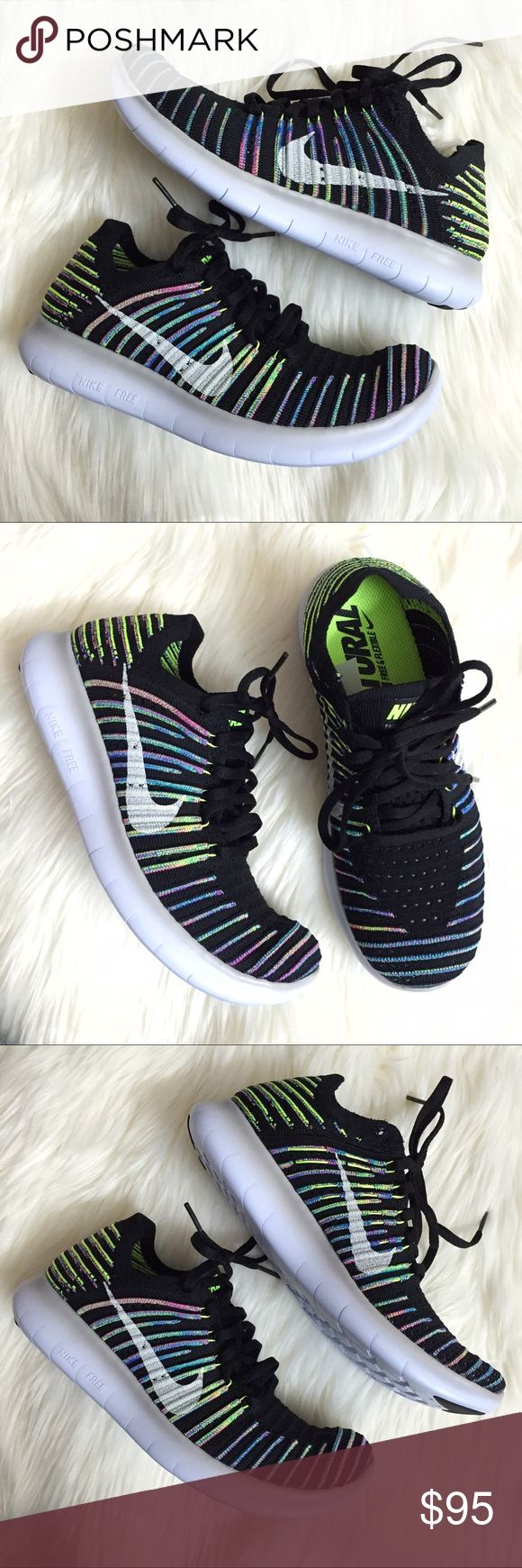Nike Free RN Flyknit Black Multi Colored Sneakers Brand new in box (missing lid), available in women's size 7.5 and 8. These Nike Free RN Flyknit Black Multi Colored Sneakers are so lightweight and comfortable! Come in the black, white, volt and blue lagoon colorway. The Nike Free Run Flyknit uses a one-piece Flyknit upper to conform to the needs of your foot. The Flyknit thread is tightly woven in areas that require more support, while a looser weave allows cooling airflow in the forefoot…