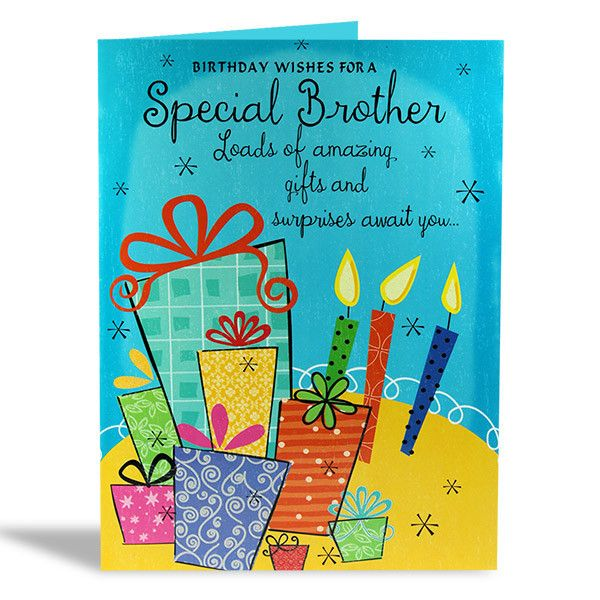 Birthday Card For Brother Birthday wishes for a special brother loads of amazing gifts and surprises await you… Happy times and wonderful moments are coming too… to make your birthday the best one by far, because brother you're one-in-million and a born superstar enjoy your day! Size : 12 X 9 Inch. | Rs. 224 | Shop Now | https://hallmarkcards.co.in/collections/shop-all/products/birthday-cards-for-brother