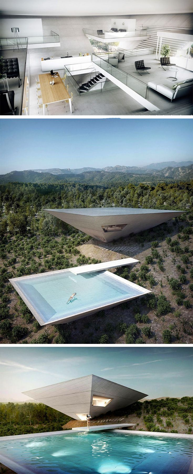 Crazy on the outside, yet classy on the inside, the Solo House project by TNA Architects for Matarrana, Spain. The inverted pyramid shaped house one of 12 such projects by French Developer Christian Bourdais who aims at capturing where the cutting edge of architecture stands at the beginning of the 21st century. The gravity defying structure stands out starkly against the otherwise downward sloping mountainous landscape.