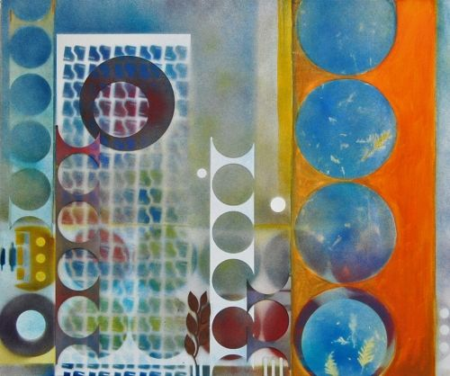 'City 2' by Uxbridge Ontario artist Lynn Bishop. Designs, colors and textures of…
