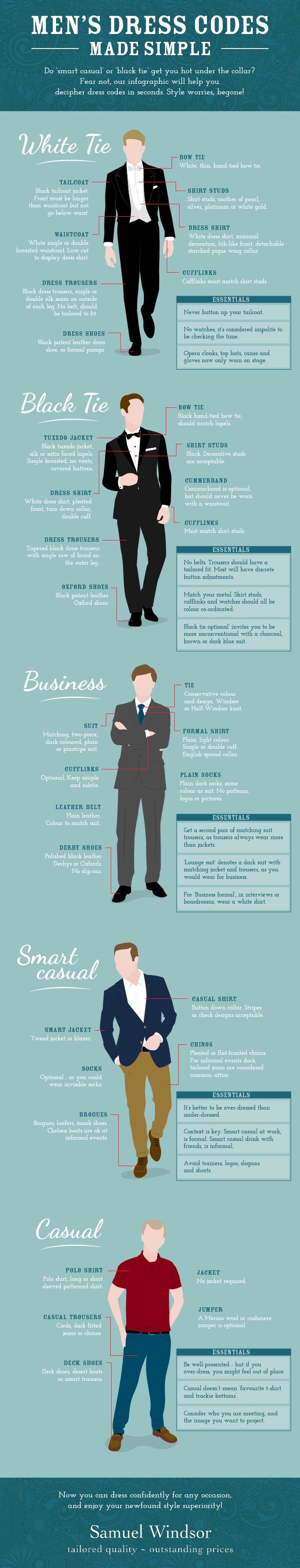"""Want to look the business? This visual guide to men's dress codes helps you guarantee an impeccable appearance at any function."""