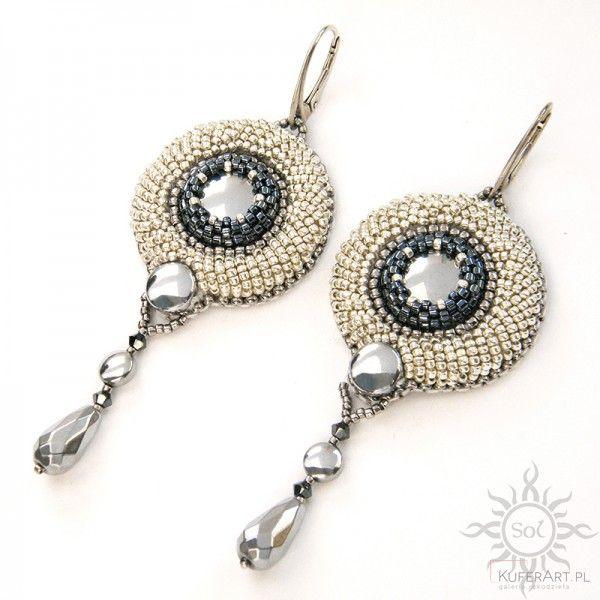 Celevon, kolczyki z hematytem i kryształami Swarovskiego - Kolczyki - Biżuteria srebrna