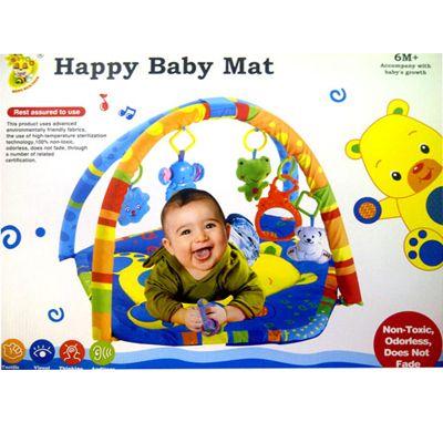Matras Bayi HAppy Baby Mat 01. Matras bermain si kecil motif lucu, bahan lembut, mainan gantung untuk melatih motorik , indra pendengaran dan penglihatan.