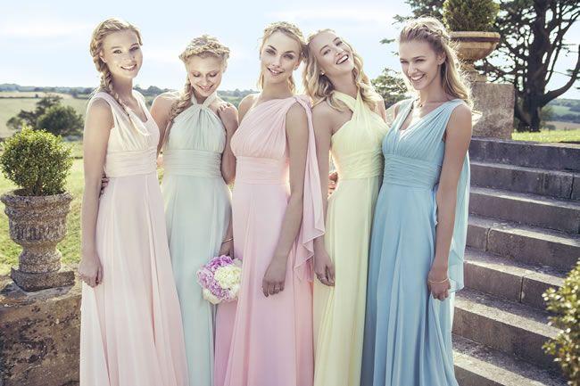new pastel bridesmaids collection.  Vestidos de dama en color pastel para el día de tu boda