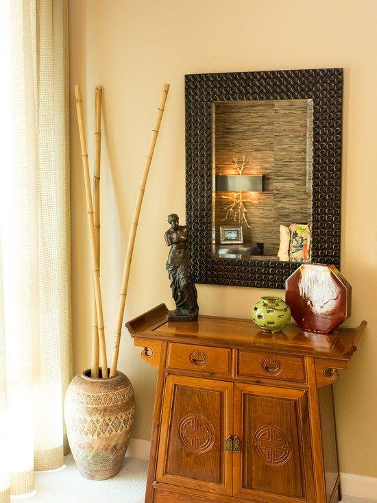 bamboo poles decoration vase wooden dresser bedroom mirror