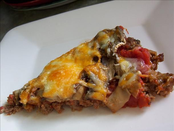 No Dough Meat Crust  Pizza for the Low Carb Dieter - with even less carbs if you go with a homemade, sugar free pizza sauce. I might also shave some calories and fat by using ground turkey in place of some or all of the beef.