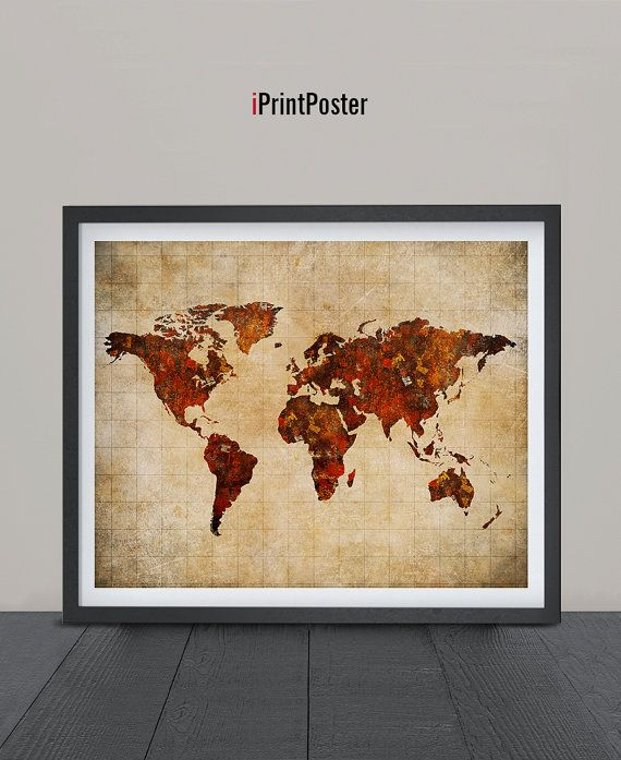 World map poster Art Print World map vintage style by iPrintPoster