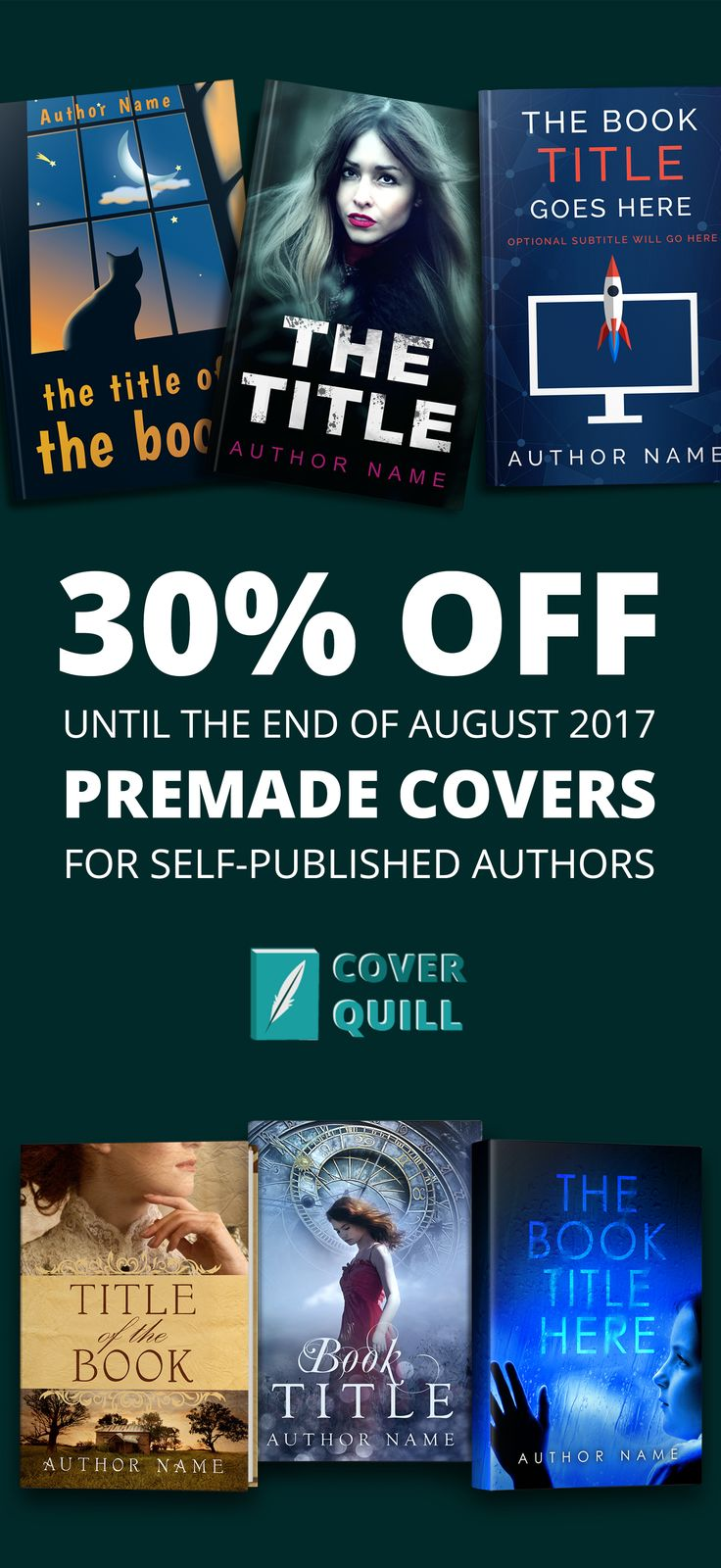 Get 30% off a premade cover in August by using code summer2017 at checkout. http://www.coverquill.com/product-category/premade-book-covers/