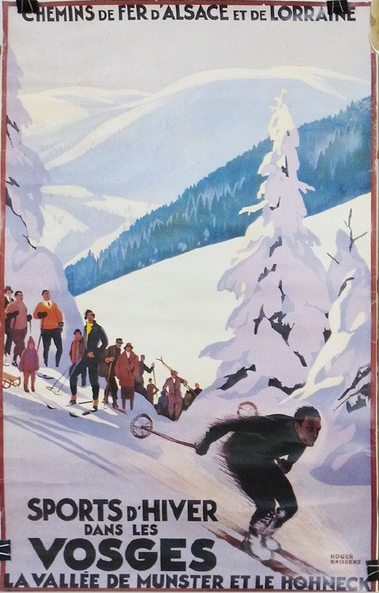"After Roger Broders (1883-1957) ""Sports d'Hiver dans les Vosges"" travel poster  Estimate £250.00 to £350.00  (Lot no: 108 in sale on 05/08/2014) The Cotswold Auction Company"