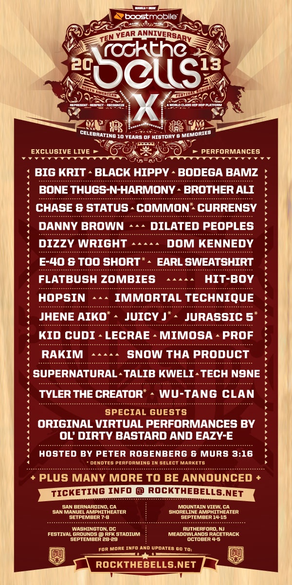 Rock The Bells 2013 has arrived. The ten year anniversary is coming. Are you ready?