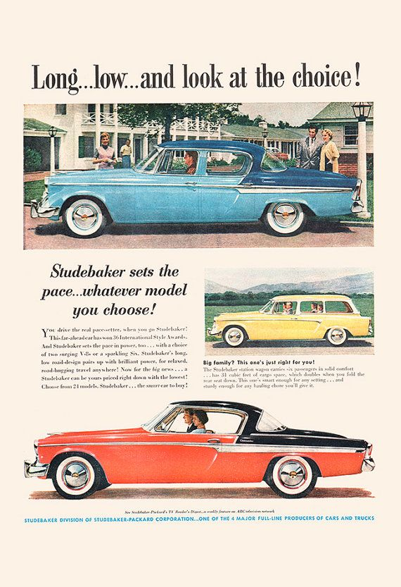 VINTAGE STUDEBAKER CAR Ad Rockabilly Car by EncorePrintSociety