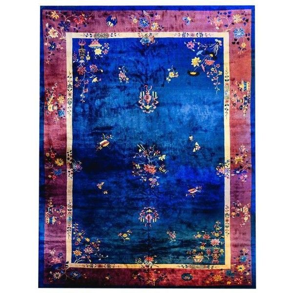 Palatial Size Chinese Art Deco Royal Blue And Violet Rug   12u2032 × 18u2032  ($9,400) ❤ Liked On Polyvore Featuring Home, Rugs, Traditional Handmade Rugs,  ...