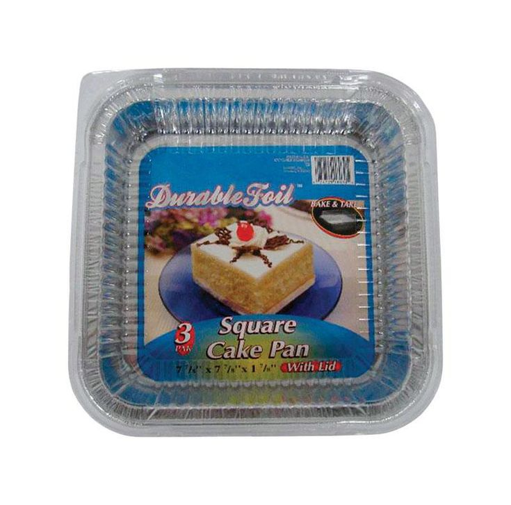 """Home Plus D18030 Durable Foil Square Cake Pan, Silver, 7-7/8"""" x 7-7/8"""""""