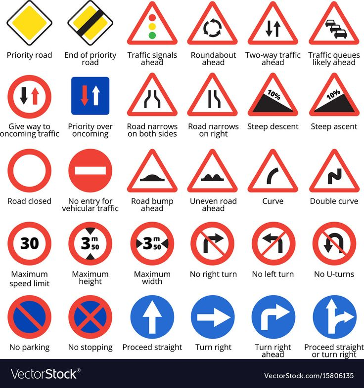 European traffic signs set. Vector road icons collection
