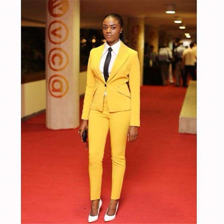 Pants suit Yellow Women Business Suits Blazer Female Office Uniform 2 Piece Suit Ladies Winter Formal Suits One Button Custom #Affiliate