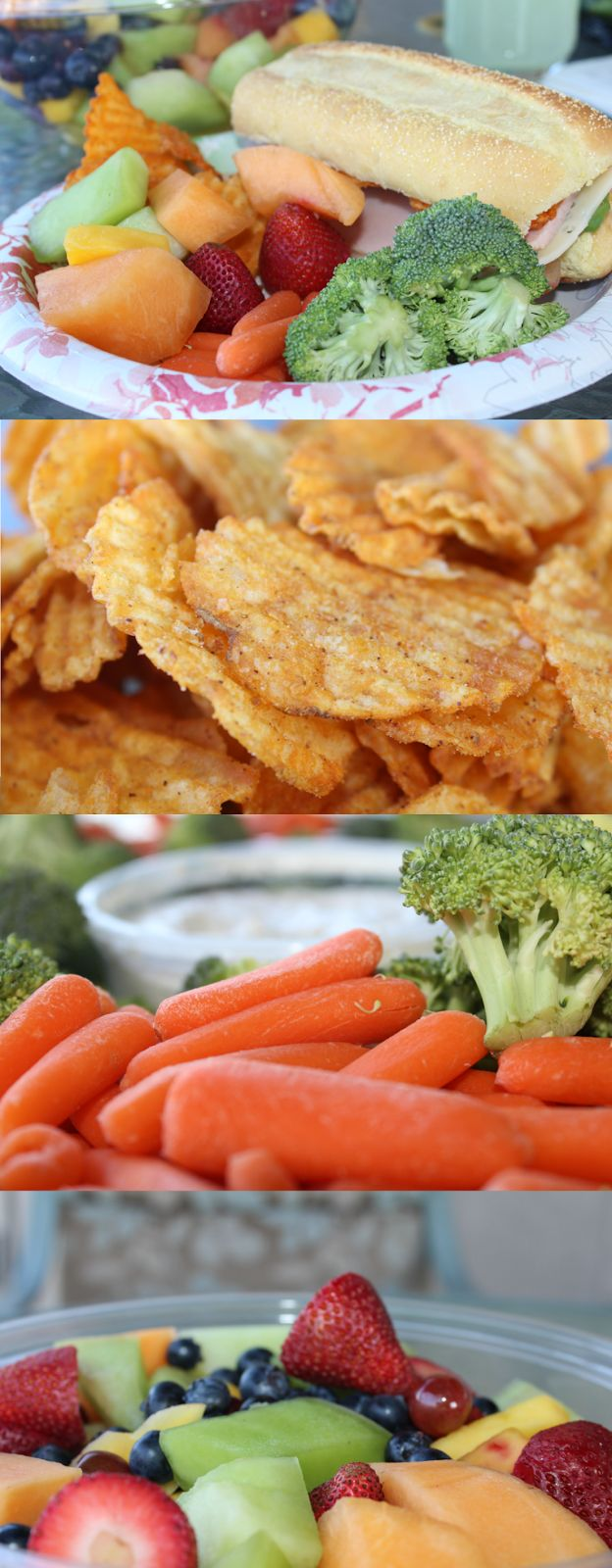 Easy Summer Meal - Turkey Sandwiches, BBQ Chips, Veggie Platter, Fruit ...