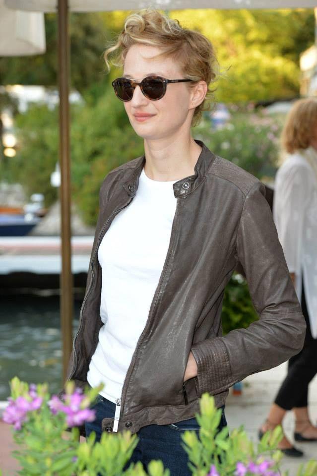 Alba Rohrwacher wore an Emporio Armani outfit and Giorgio #Armani sunglasses on her arrival at the Lido.