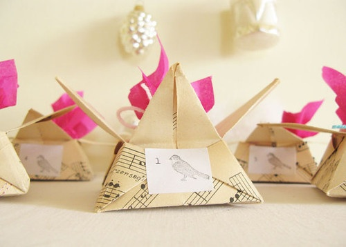 Advent Calendar Origami Star Paper Boxes by My Cherry Tree Vintage modern holiday decorations