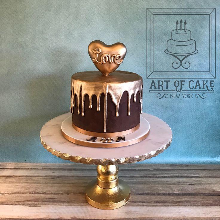 Heart Of Gold Chocolate Drip Cake Artofcakeny In 2019