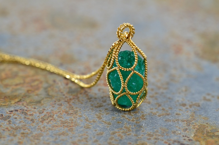 Caged Rough Emerald Necklace - for my 50th!