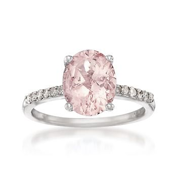 2.00 Carat Pink Morganite and .15 ct. t.w. Diamond Ring in Sterling Silver $318.75
