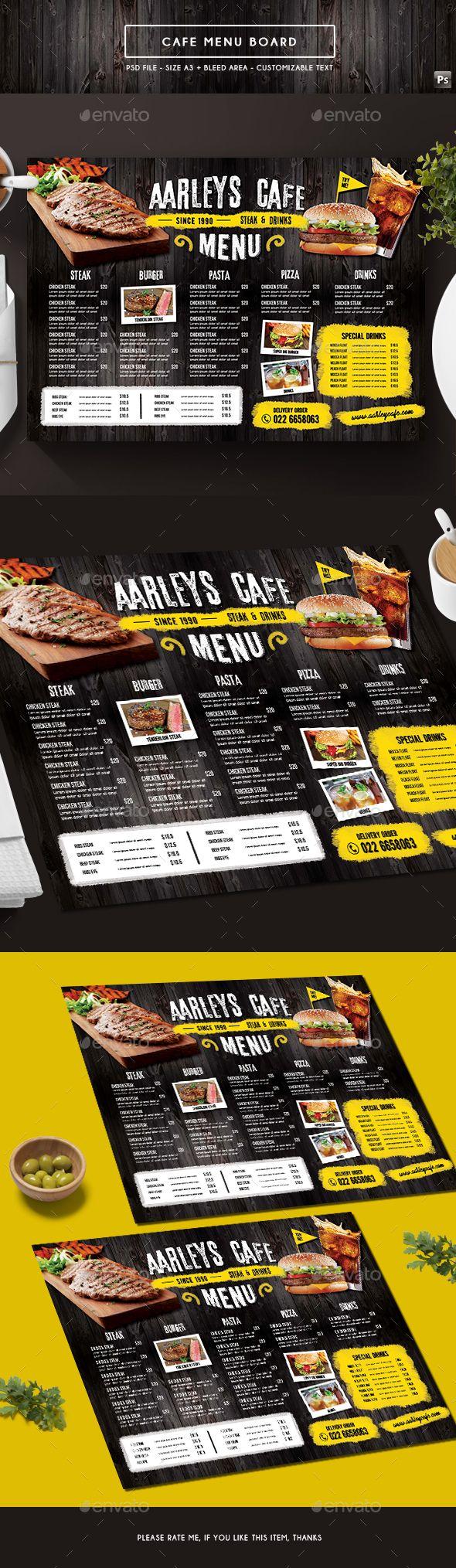 Cafe #Menu Board - #Food Menus Print #Templates Download here:  https://graphicriver.net/item/cafe-menu-board/19518249?ref=alena994