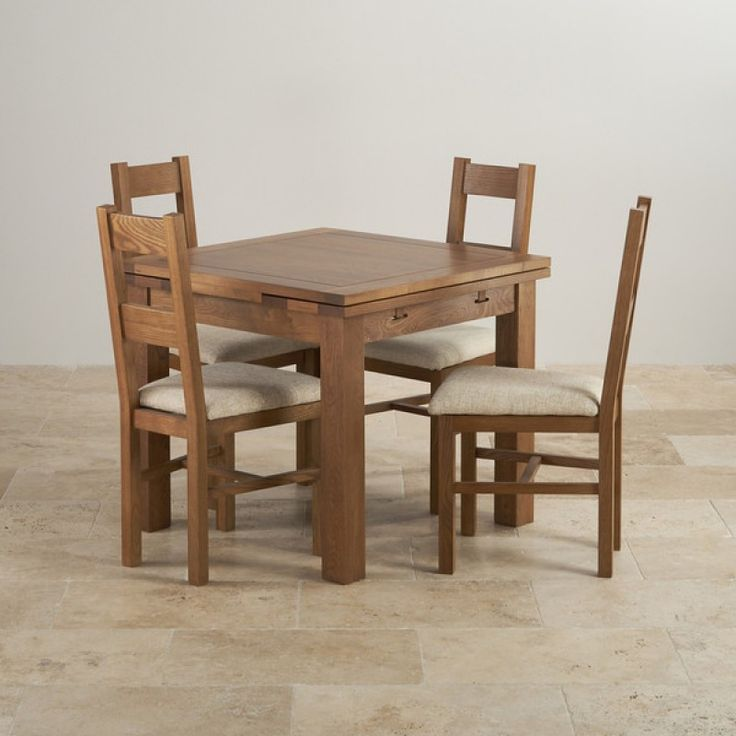 Rustic Real Oak Dining Set - 3ft Extending Table with 4 Farmhouse and Plain Beige Fabric Chairs
