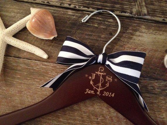 ANCHOR Wedding Hanger / Nautical Bridal Hanger / by GetHungUp