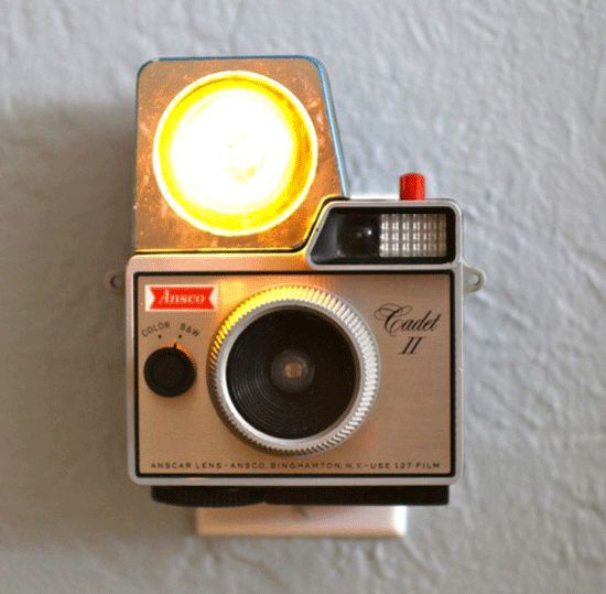 vintage camera turned into a night light