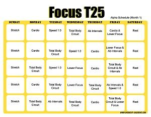 T25 Workout Calendar Horizontal Month 1