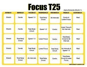 T25 Workout Calendar Horizontal Month 1